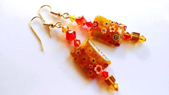 Crystal Millefiori Earrings, Yellow Dangle Earrings, Red Orange Yellow Long Earrings