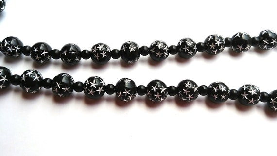 Black and Silver Bead Eyeglass Necklace, Bead Lanyard for glasses