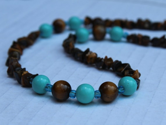 Turquoise and Brown Bead Necklace, Tiger eye Chips Bead Jewelry, Short Tiger Eye Necklace