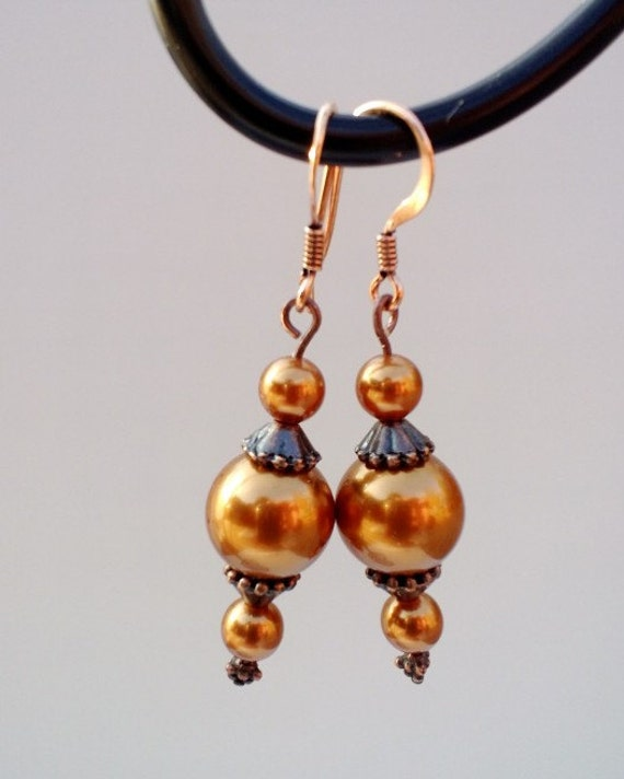 Copper Dangle Earrings, Antique Vintage Pearl Drop Earrings Rustic Dangle Earrings