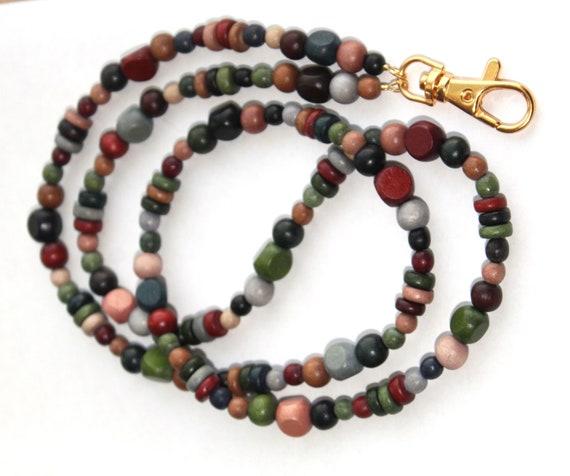 Bead Lanyard or Wood Bead Id Badge Holder,  Eyeglass Chain, Fall Colors Autumn Tones