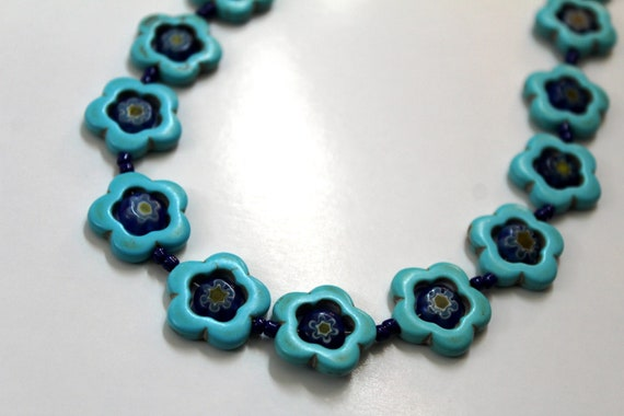 Chunky Turquoise Floral Necklace with Millefiori Beads