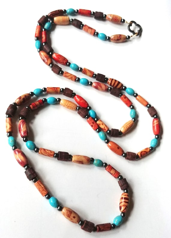 Long Boho Necklace, Brown and Turquoise Rope Length Wood Bead Wrap Necklace