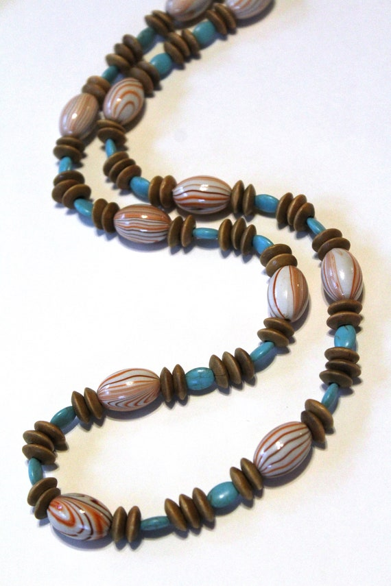Long Brown Bead Necklace, Turquoise Earth Tones Boho Wood Necklace
