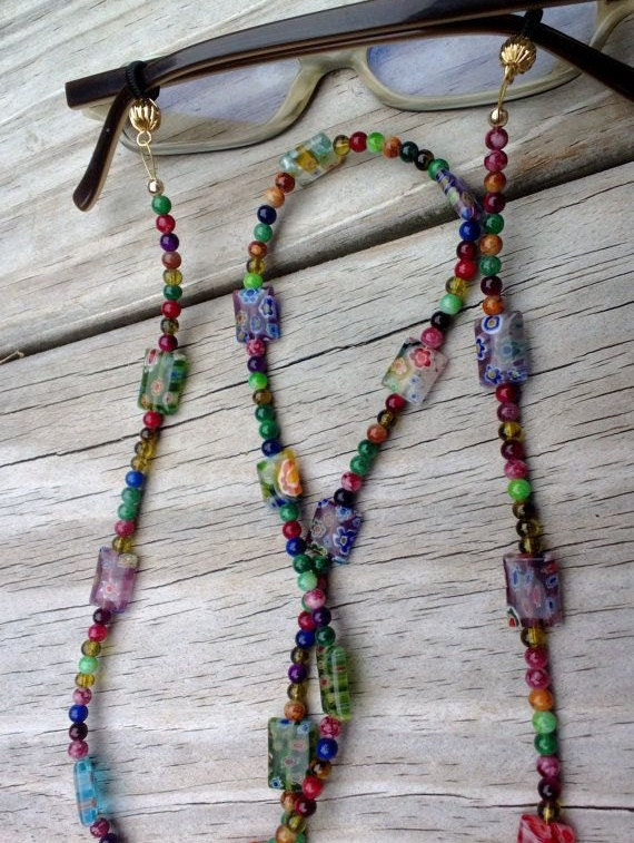 Eyeglass Chain, Millefiori Reading Glasses Chain, Colorful Eyeglass Holder Fashion Accessory, Beaded Lanyard