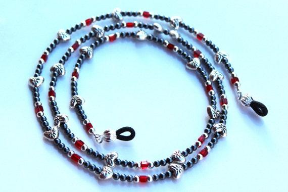 Eyeglass Chain, Gift for Her, Silver and Black Heart Chain for Reading Glasses, Bead Lanyard for Eyeglasses