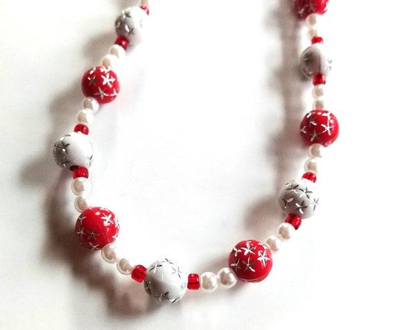 Id Badge Lanyard, or White & Red Eyeglass Chain