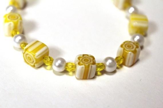 Yellow Bead Bracelet, Chunky Millefiori Bracelet