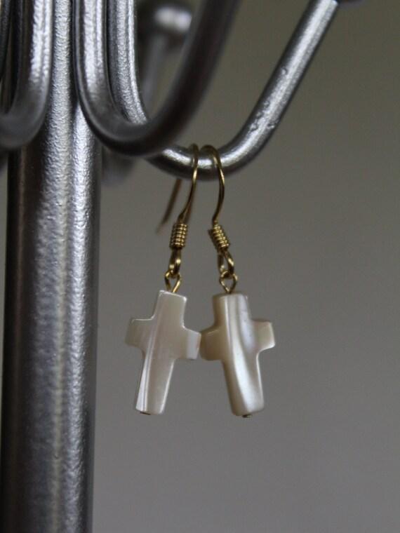 Cross Earrings, Small Golden Earrings, Mother of Pearl Cross, Religious Jewelry, Minimalist Drop Earrings, First Communion Earrings