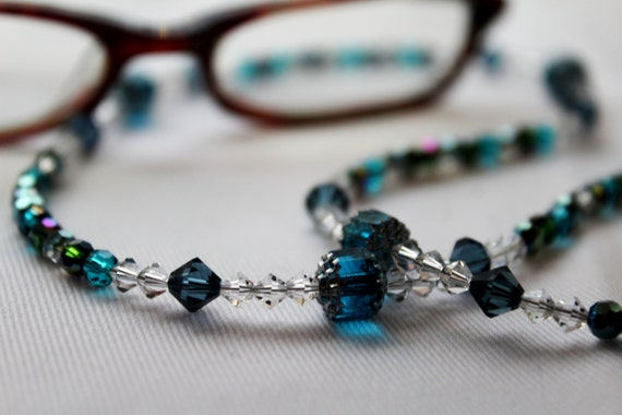 Crystal Eyeglass Chain, Blue Beaded Holder for Glasses, Crystal Chain for Glasses