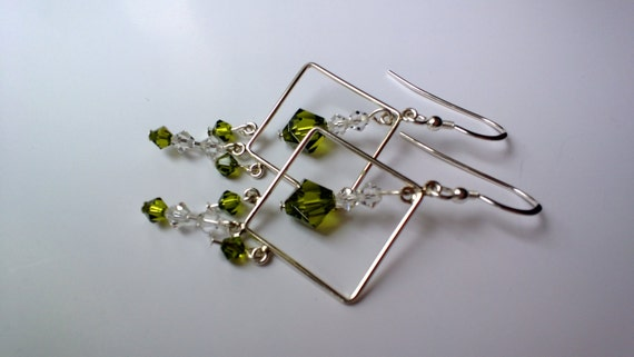 Olive Green Crystal Dangle Earrings, Olivine Chandelier Earrings, Silver and Green Crystal Jewelry
