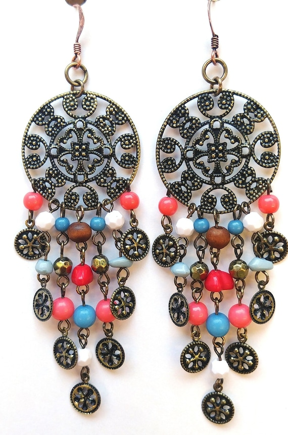 Long Beaded Dangle Boho Earrings