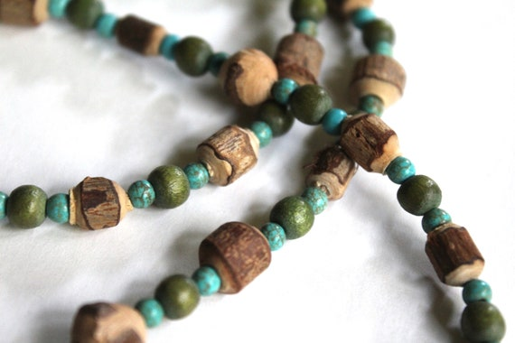Carved Wood Rustic Bead Necklace, Long Double Up Necklace, Brown Green and Blue