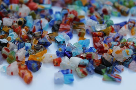 Broken Glass Pieces, Millefiori Glass Chips, Colorful Glass Pieces for Terariums, Art Projects and Crafts
