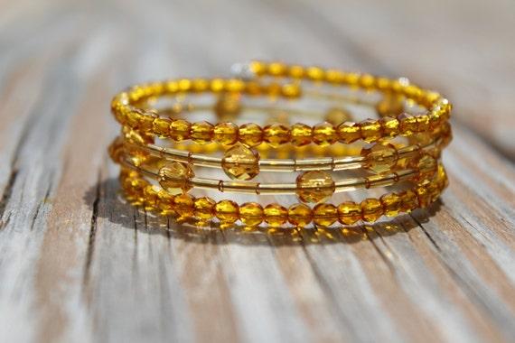 Amber Memory Wire Bracelet, Chunky Golden Yellow Wrap Bracelet