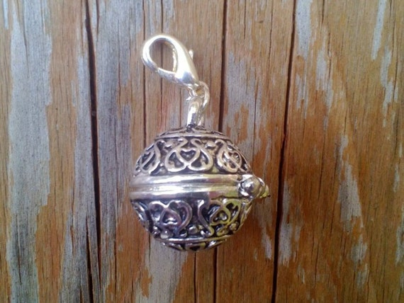 Prayer Box, Drop, 17mm Silver Finished Pewter Box with Lobster Claw Clasp
