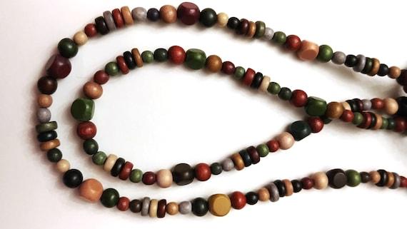Bead Lanyard, Wood Bead Id Badge Holder, Fall Colors Autumn Tones