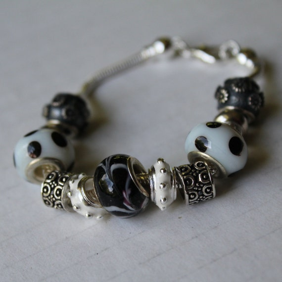 European Bracelet, Black and White Chunky Bracelet, Black White Bracelet, Silver Bracelet, Large Hole Add A Bead Bracelet