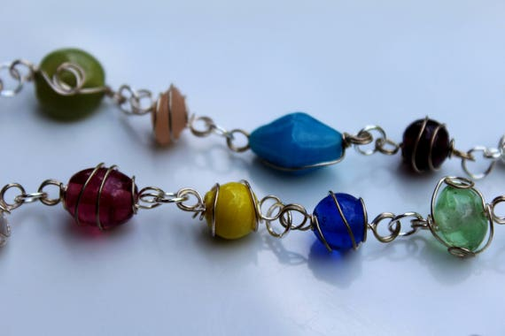 Colorful Glass Bead Necklace, Wire Wrapped Stone Link Necklace