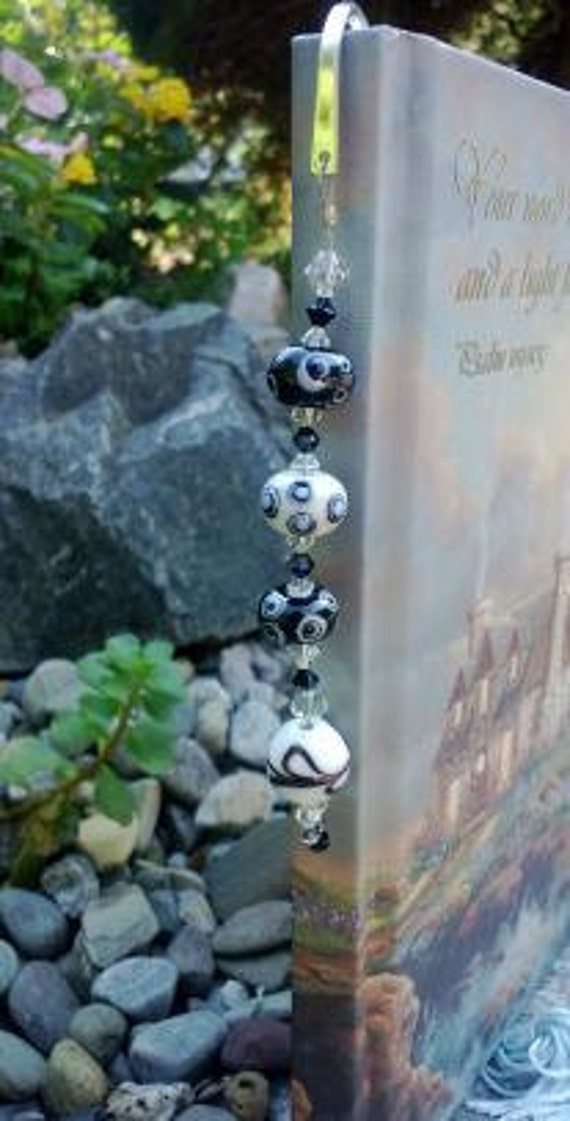 Beaded Bookmark, Lampwork Book Mark, Bookworm Book Club Gift for Her