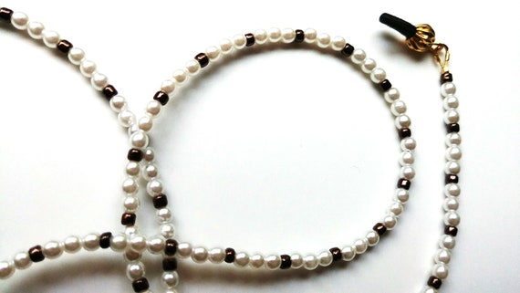 White Bead Eyeglass Chain, Minimalist Tiny Bead Reading Glasses Holder