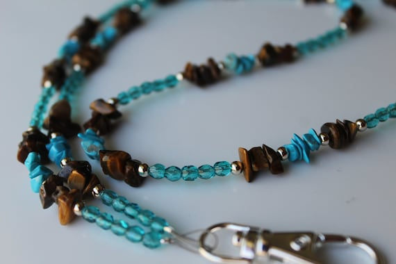 Beaded Lanyard ID Badge Holder, Turquoise & Brown