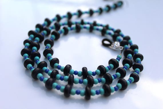 Eyeglass Chain, Glasses Chain, Turquoise Blue Bead Lanyard