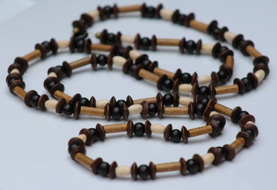 Long Brown Boho Style Wood Beaded Necklace
