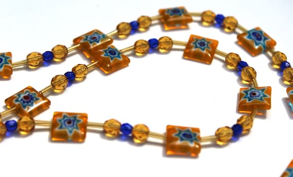 Bead Eyeglass Chain,  Yellow and Blue Bead Holder for Glasses