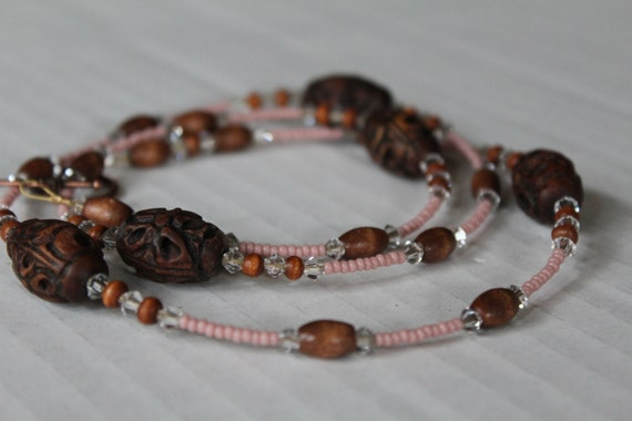 Pink Boho Jewelry, Carved Wood Necklace, Long Brown Beaded Pink Necklace, Pink With Crystals
