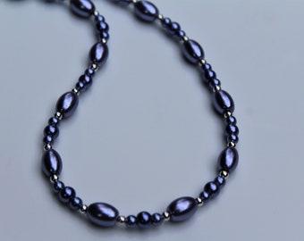 Short Purple Necklace, Violet Bead Necklace