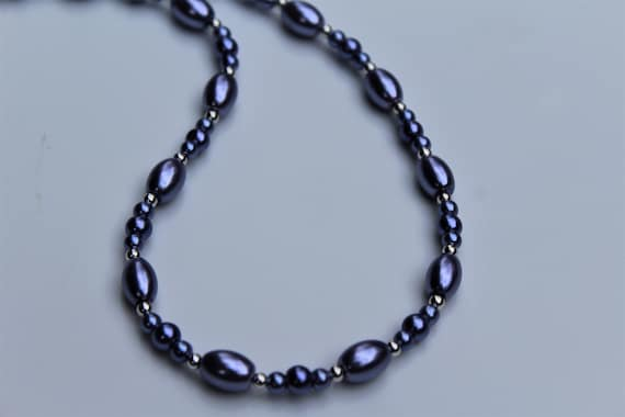 Short Purple Necklace, Violet Bead Necklace