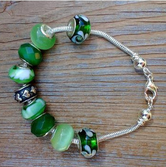 Green European Bracelet, Add A Bead, Chunky Green Bracelet, Charm Snake Chain Bracelet