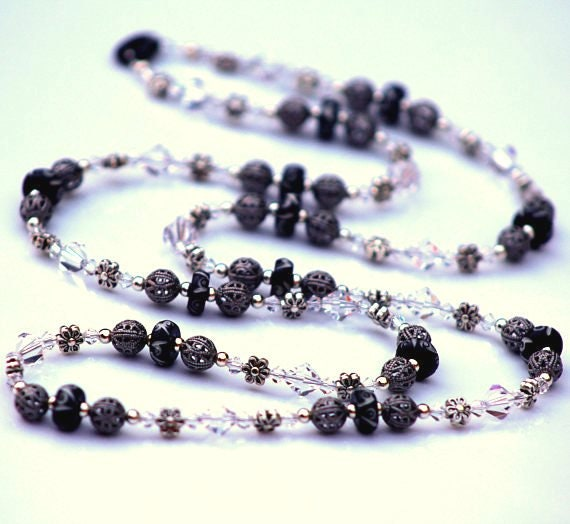 Long Crystal Necklace, Black Necklace, Formal Jewelry