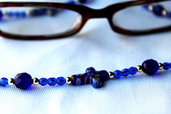 Cross Religious Gift, Blue Glasses Chain, Beaded Chain for Glasses, Religious Beaded Lanyard, Christian Gifts, Bead Eyeglass Chain