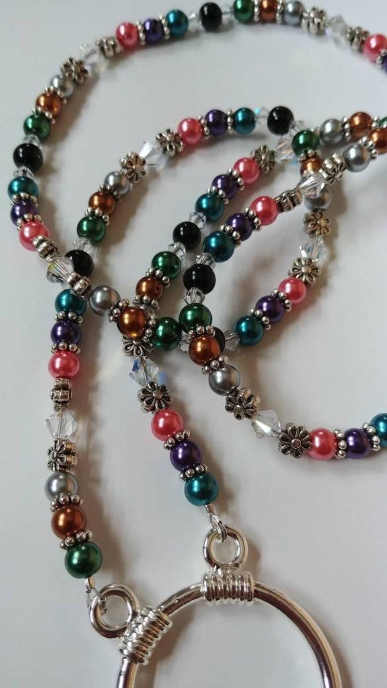Eyeglass Ring Necklace,  Reading Glasses Holder, Dark Pearl Bead Eyeglass Chain