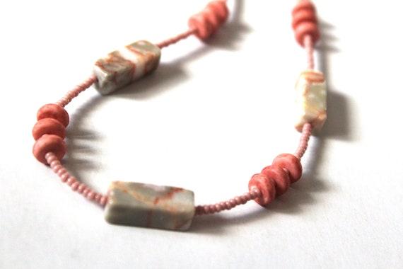 Salmon Color Short Necklace