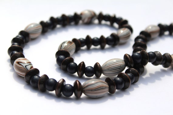 Wood Bead Necklace, Dark Brown, Black Chunky Bead Necklace