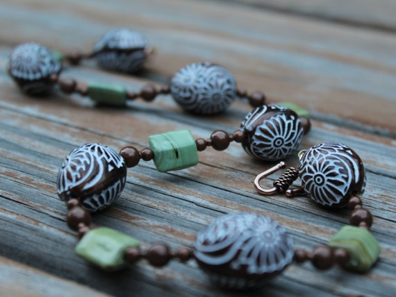 Green and Brown Short Statement Necklace, Bronze Boho Beaded Necklace