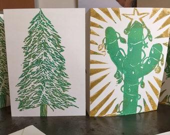 Christmas Card 10-pack w 2 Designs: fir tree & cactus green, gold