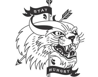 Stay Hungry, Lynx, Arrows, Neo-Traditional Tattoo Flash, Old School, Black and White, Art Print 12x16