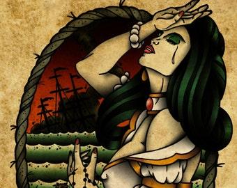 Lost at Sea, Neo-Traditional Tattoo Flash, Old School, Art Print 12x16