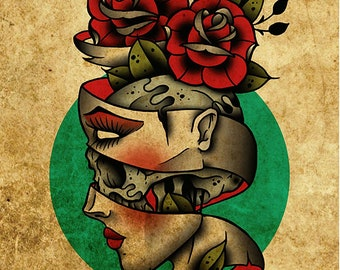 705351922 Flesh & Bone, Roses, Neo-Traditional Tattoo Flash, Old School, Art Print  12x16