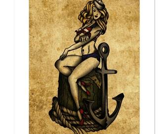Ship S Captain Neo Traditional Tattoo Flash Nautical Etsy