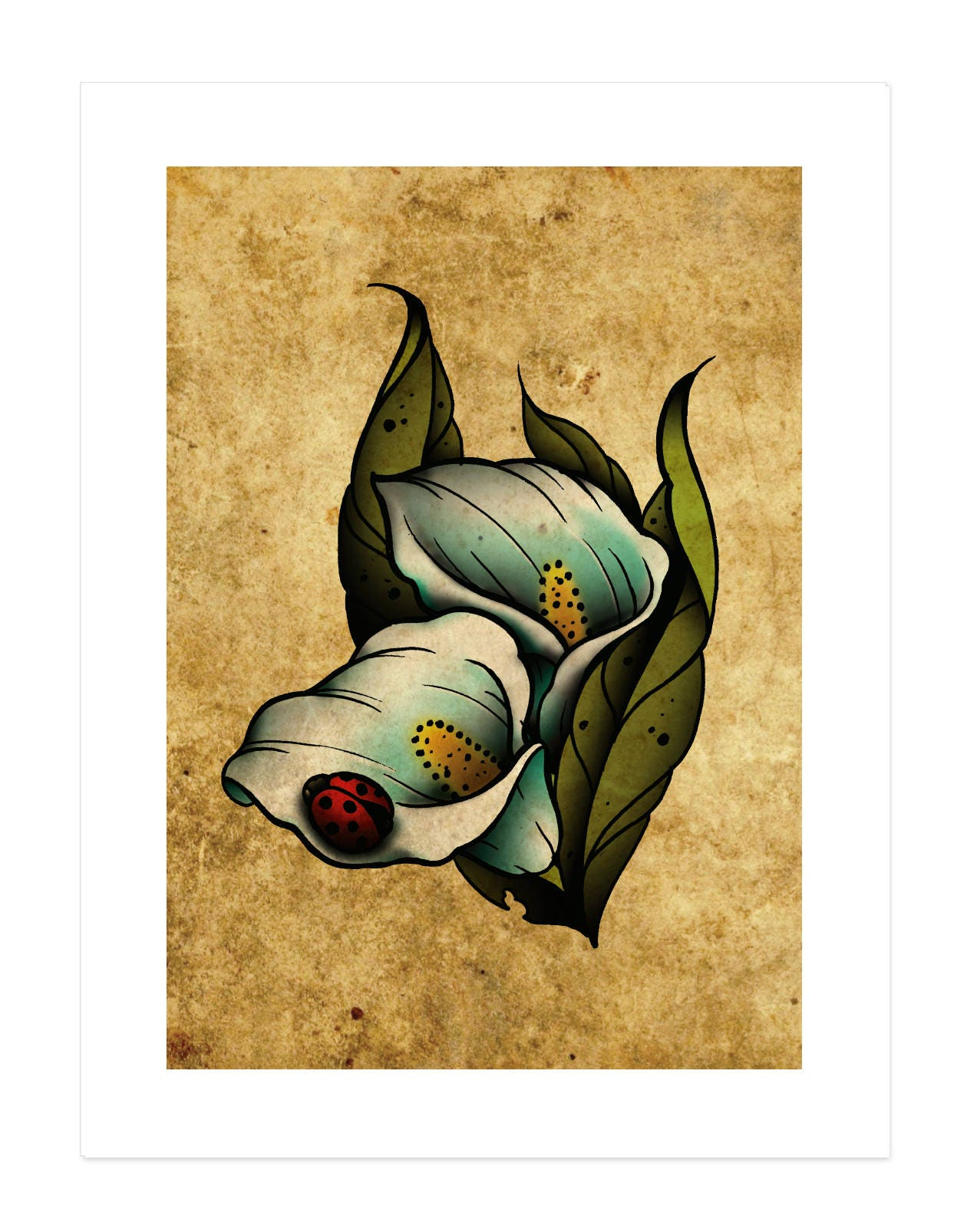 Calla lilies flowers lady bug neo traditional tattoo flash etsy zoom izmirmasajfo