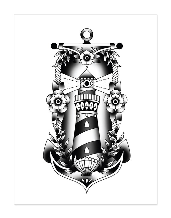 Nautical Set Lighthouse Anchor Traditional Tattoo Flash Old School Art Print 12x16