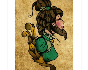 The Bearded Lady, Neo-Traditional Tattoo Flash, Carnival Sideshow, Old School, Art Print 12x16