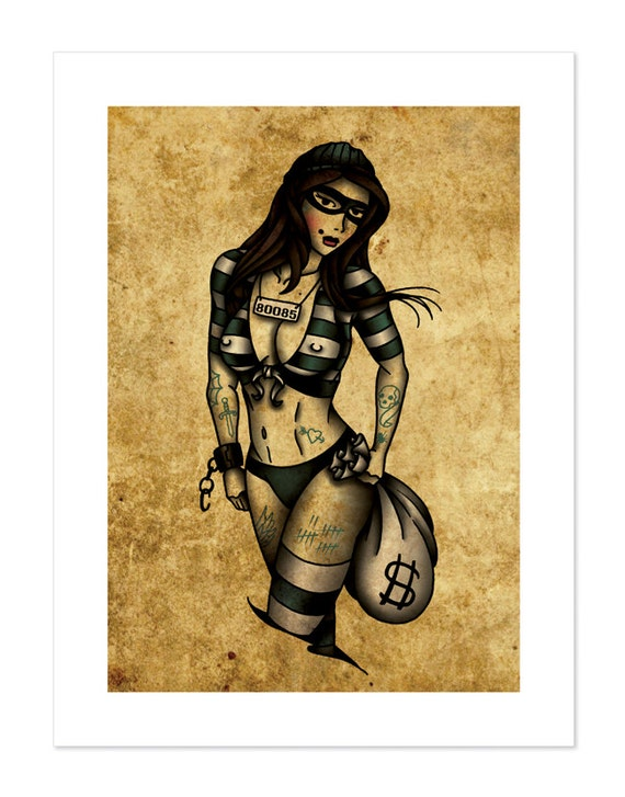 Robber Pin Up Neo Traditional Tattoo Flash Old School Art Etsy