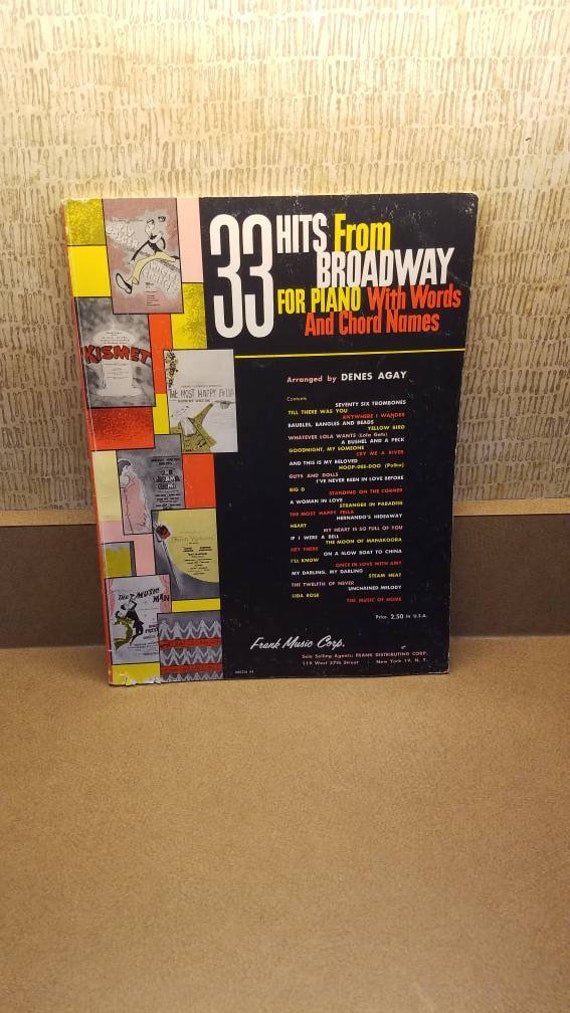 33 Hits From Broadway For Piano Vocal Chords Vintage Etsy