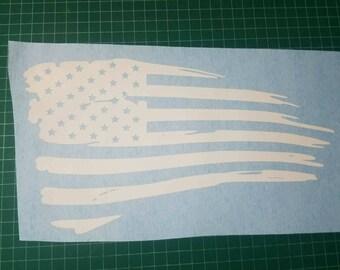 Tattered American Flag  Vinyl Decal